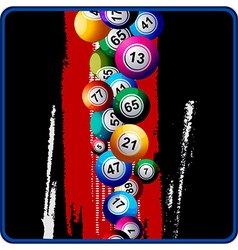 Bingo balls on black and red background vector