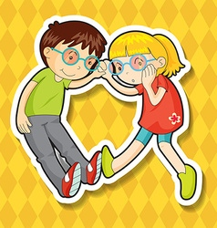 Boy and girl wearing glasses vector