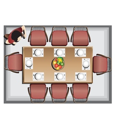 Dining furniture top view set 3 vector