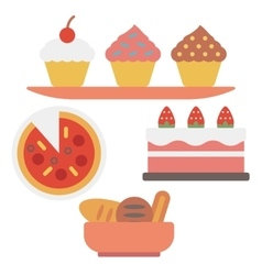 Pizza and assortment of sweet pastry vector