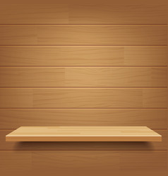 Empty wooden shelf on wooden wall background vector