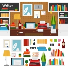 Writer cabinet interior with books vector image