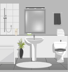 Modern bathroom interior with sink bathtub vector