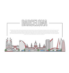 barcelona landmark panorama in linear style vector image vector image