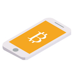 bitcoin flies on the phone vector image