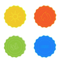 Bright icons water sun fire leaves yellow blue red vector image vector image