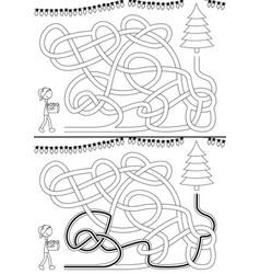 christmas tree maze vector image vector image