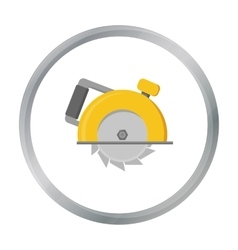 Circular saw icon in cartoon style isolated on vector image