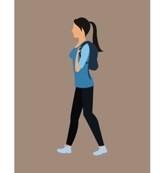 cute girl tail hair bag walking vector image