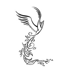 decorative phoenix bird vector image