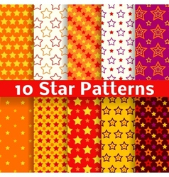 Different star seamless patterns tiling vector image