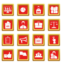 election voting icons set red vector image