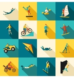 Extreme Sports Flat Icons Set vector image vector image