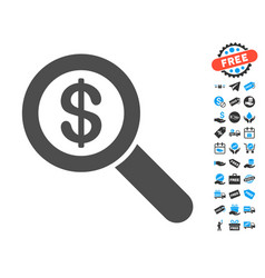 Financial audit loupe flat icon with free bonus vector