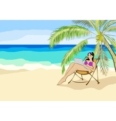 girl sitting under a palm tree with laptop vector image vector image