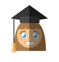 graduate girl emoticon cartoon vector image