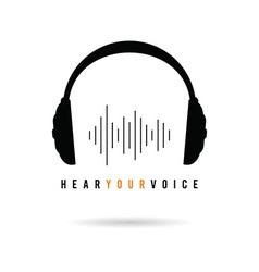 headphone hear voice icon in black vector image vector image
