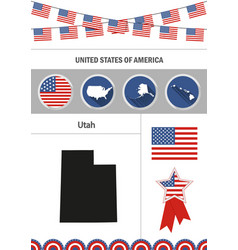 map of utah set of flat design icons nfographics vector image vector image