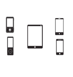 Mobile phones and tablets on a white background vector