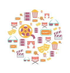 Movie Graphic Icons on white Background vector image
