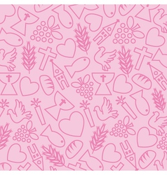 Pink background with communion icons vector