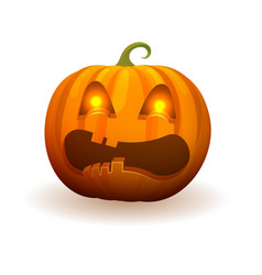 Pumpkin with lighted bright eyes and scary face vector