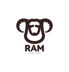 Ram sheep lamb head graphic logo template vector