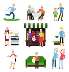 senior people activities set elderly man and vector image vector image
