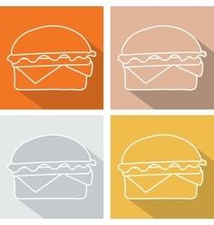 Set hamburger icon symbol with long shadow vector