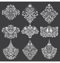 Set of ornamental elements for design White floral vector image vector image