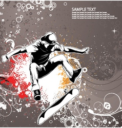 skater with grunge floral background vector image