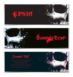 Skull artistic splatter banners black sky blue vector