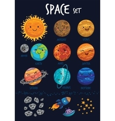 Space set Collection of cute cartoon planet vector image vector image