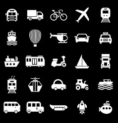 Transportation icons on black background vector