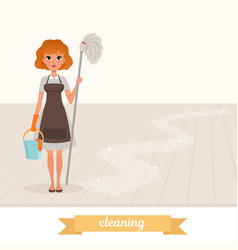 woman standing on shiny floor and holding mop and vector image
