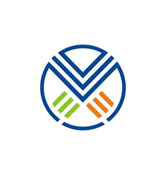 X letter line color logo vector