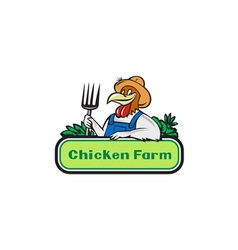 Chicken farmer pitchfork vegetables cartoon vector