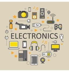 Electronics technology line art thin icons set vector