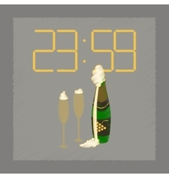Flat shading style icon champagne christmas clock vector