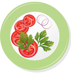 Plate with sliced tomatoes vector