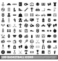 100 basketball icons set simple style vector