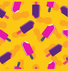 Summer season ice cream art seamless pattern vector