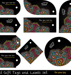 Black hippie tags set vector