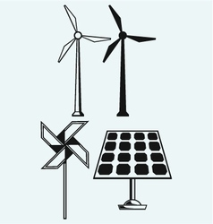 Solar panel and windmill vector