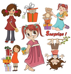 Cute girls collection isolated on white background vector