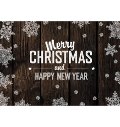 Merry christmas greeting on aged hardwood planks vector