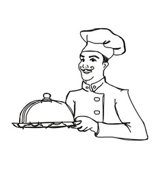 Chef cook with a tray doodle vector