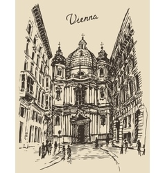 Peterskirche in vienna austria hand drawn sketch vector