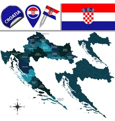 Croatia map with named divisions vector