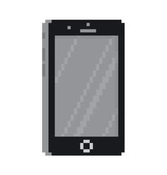 Pixel art style black smartphone gadget isolated vector